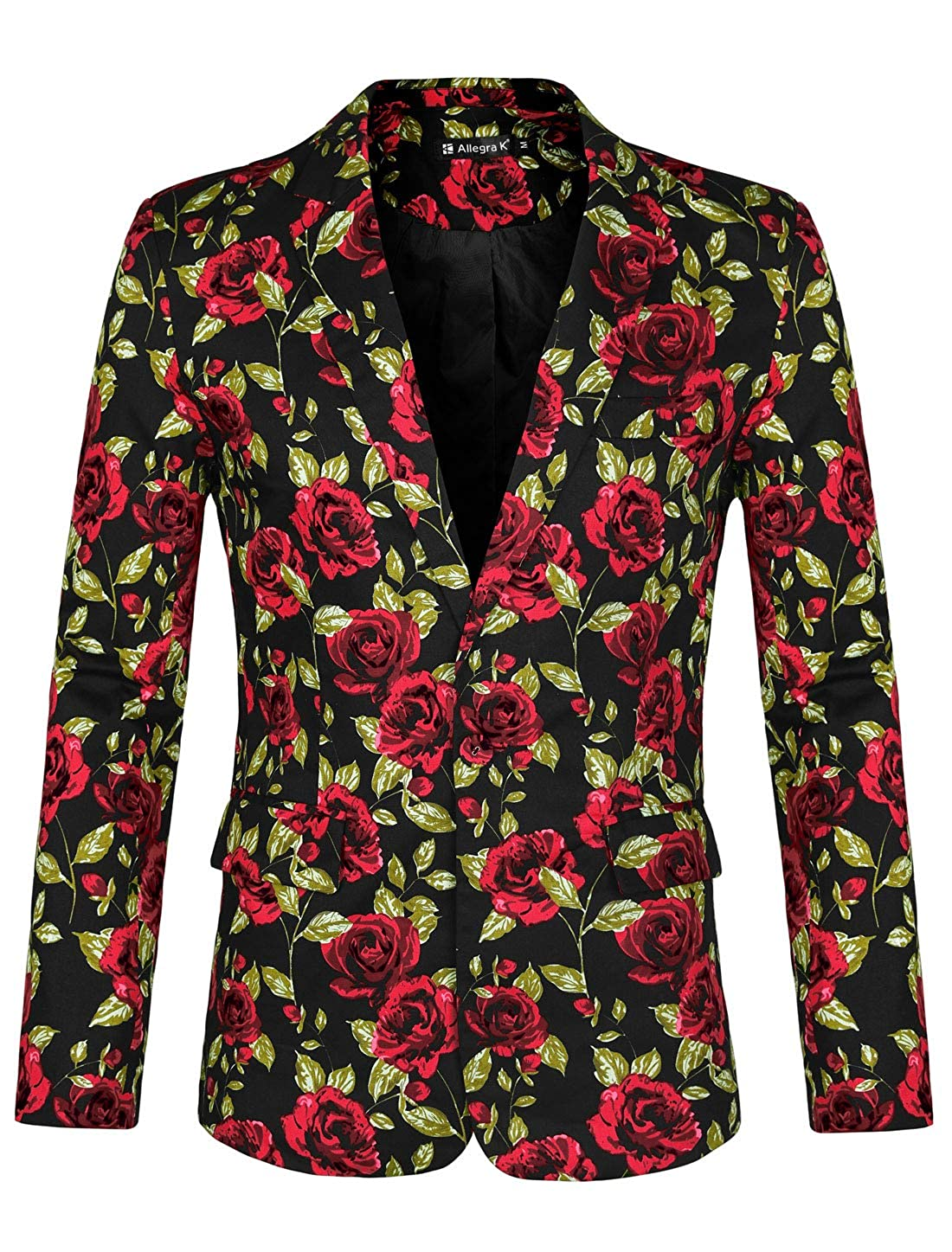 uxcell Mens Suit Blazer Slim Fit Floral Printed One Button Prom Jacket Sport Coat