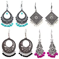 Om Jewells Pink Rhodium Plated Dangler and Jhumka Earrings for Women