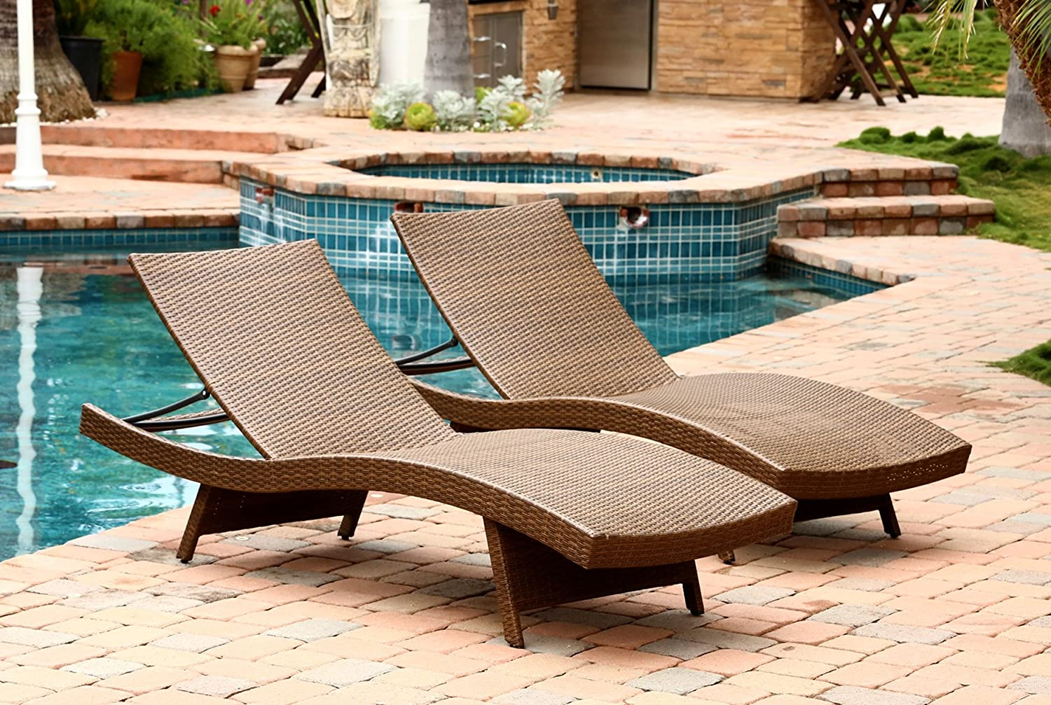 Amazoncom Abbyson Palermo Outdoor Adjustable Wicker Chaise