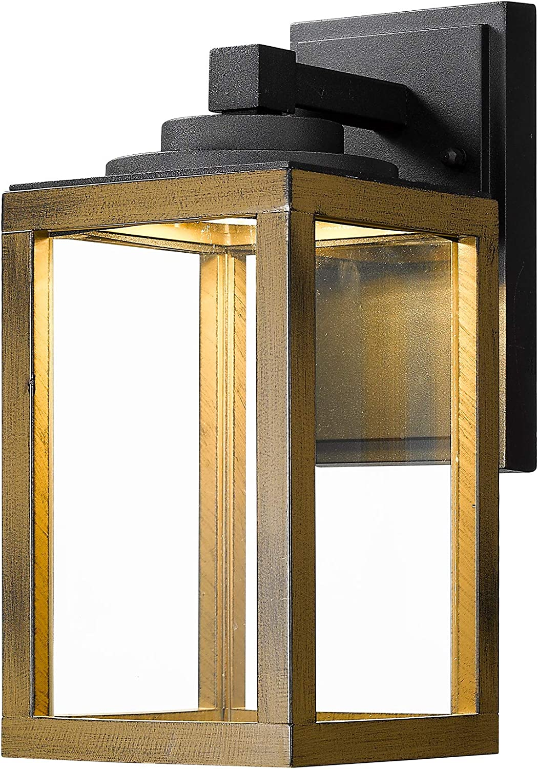 Zeyu Exterior Led Wall Lantern 10w Outdoor Wall Sconce Lighting With Clear Glass Shade In Black Finish And Wood Grain Z1953 Bw Amazon Com