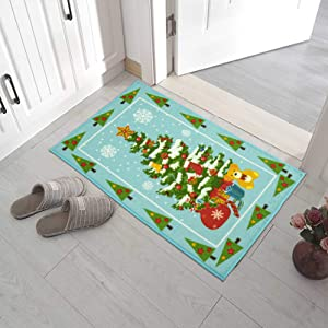 Flagover Christmas Rugs Door Mat Runner Carpet for Entrance/Living Room/Bedroom/Bathroom Non-Slip Rubber Backing Xmas Decorative Rugs for Indoor Garden Kitchen 2x3 Ft Christams Tree