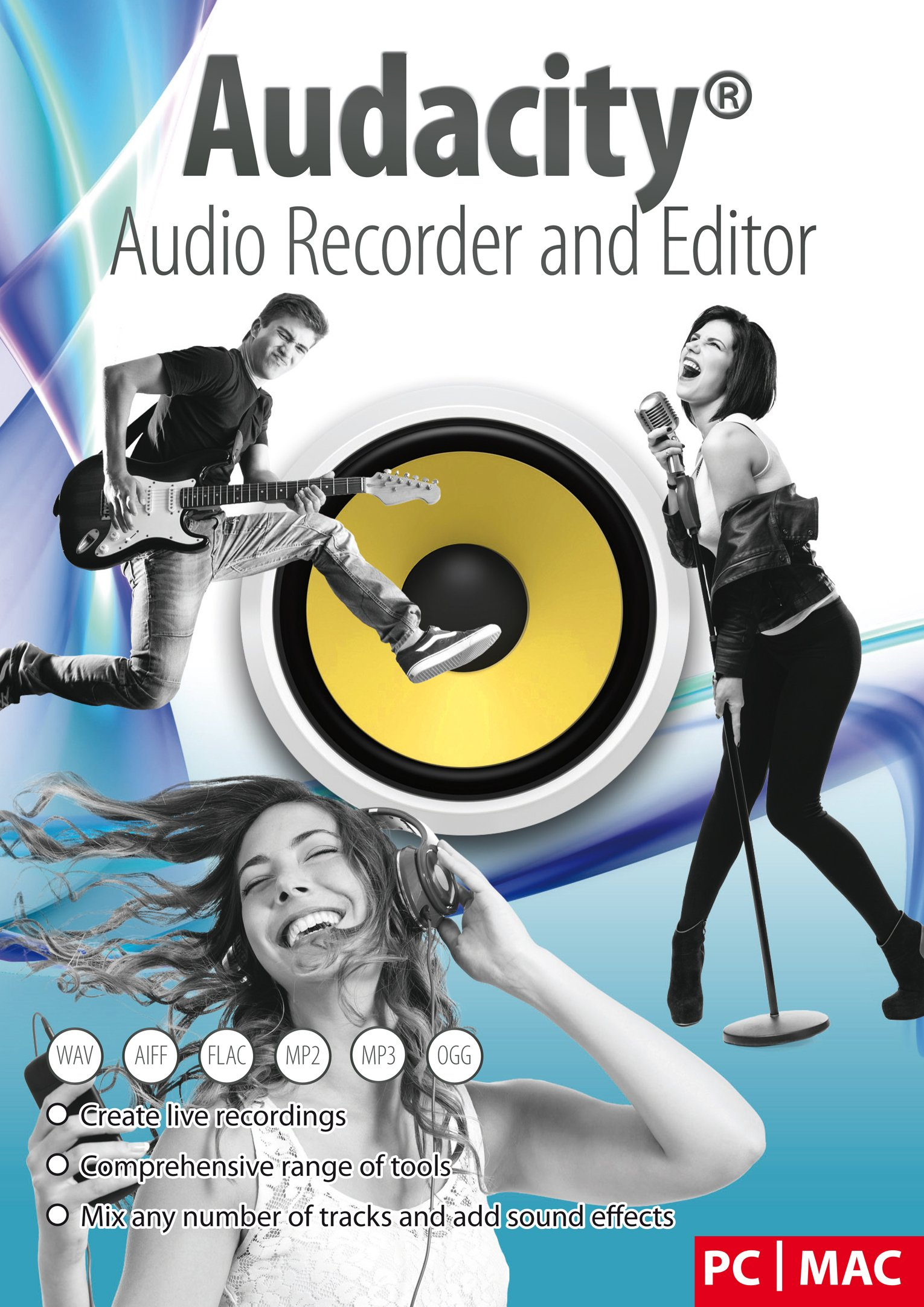 Audacity® Audio Recorder and Editor - Your professional sound studio for recording, editing and playing all common audio files: WAV, AIFF, FLAC, MP2, MP3, OGG Vorbis I For PC + Mac by Markt+Technik