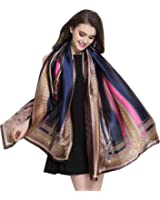 K-ELewon Silk Scarf Fashion Scarves Long Lightweight Sunscreen Shawls for Women
