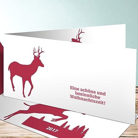 Weihnachtsgrüße Firma.Firma Weihnachtsgrüße Hirsch 200 Karten Horizontale Klappkarte