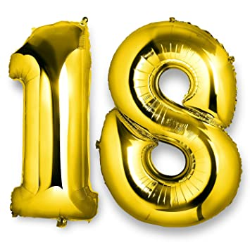 Globos número 18 foil helio para la decoración fiesta de cumpleaños altura 100cm (ORO))