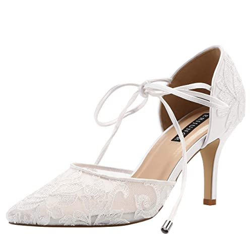 bee6c019be ERIJUNOR Ivory Lace Mesh Satin Bridal Wedding Shoes for Women Comfortable  Mid Heel Tie Up Ankle Strap Pointy Toe Pumps