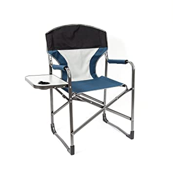 Folding Directors Chair With Side Table.Mac Sports Folding Directors Chair With Side Table And Cup Holder Blue
