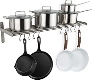 Wallniture Lyon Hanging Pot Rack Wall Mounted Shelf with Hooks - Heavy Duty Pot Hangers for Kitchen - Cookware Utensils Pot Lid Organizer Storage, Stainless Steel - Chrome