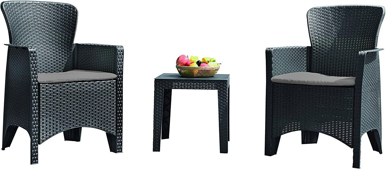 KG KitGarden - Conjunto Balcón/Terraza Plegable, 2 sillones + 1 mesa, Gris Imitación Ratán, Aroa