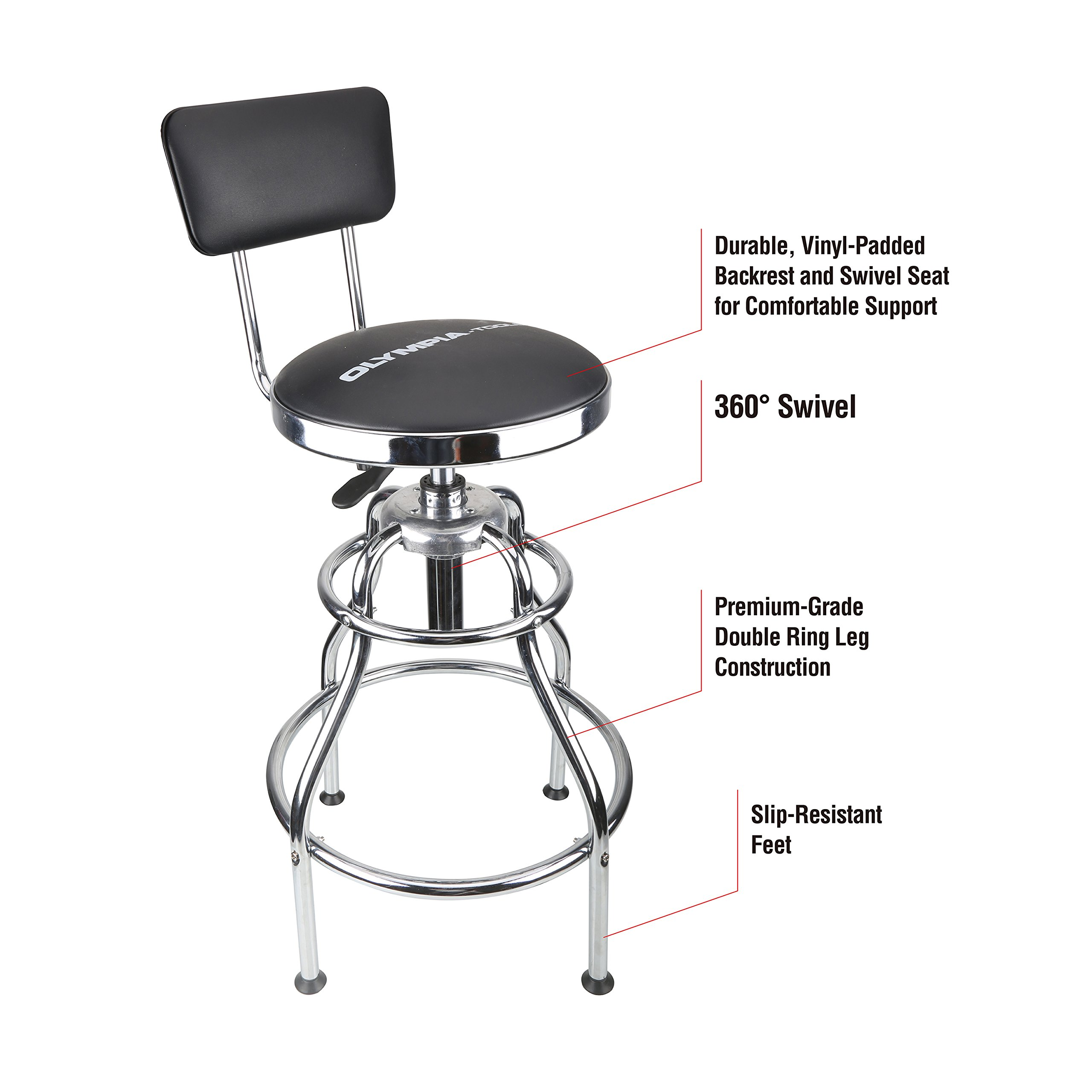 Olympia Tools 82-738 Metallic-Fiber Adjustable Hydraulic Stool with Easy to Clean seat Wipes and Padded Vinyl backrest,Slip-Resistant feet, Black