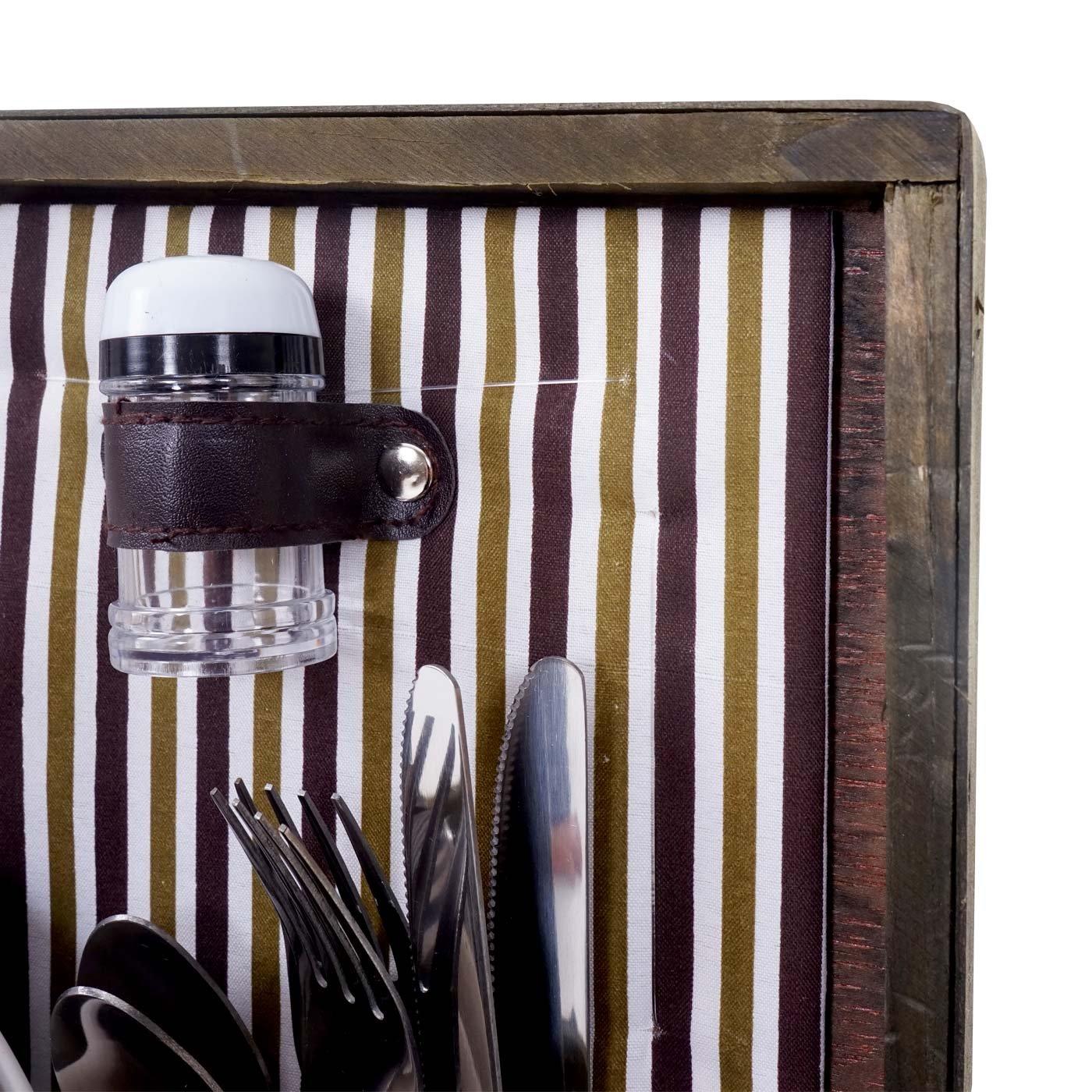 Mendler Picknickkorb-Set für 4 Personen, Picknicktasche Weiden-Korb, Porzellan Porzellan Porzellan Glas Edelstahl, braun-weiß B01N20ZIY4   Elegantes Aussehen  24258d