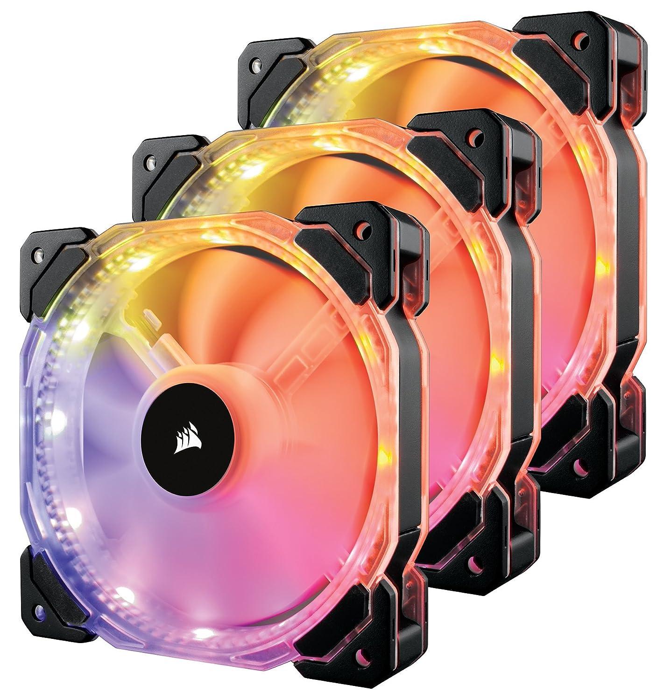Corsair CO-9050067-WW HD Series HD120 RGB Ventola da 120 mm a Bassa Rumorosità e Elevata Pressione Statica con Illuminazione a LED RGB, Programmabile per Singolo LED con Controller Incluso, Nera, Confezione Tripla
