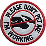 """Service Dog Working Do Not Touch Military Tactical Morale Badge Hook Loop Fastener Patch - Please Do Not Pet Me I'm Working - 3.15"""" Diameter Round(Service Dog-Red/White/Black)"""