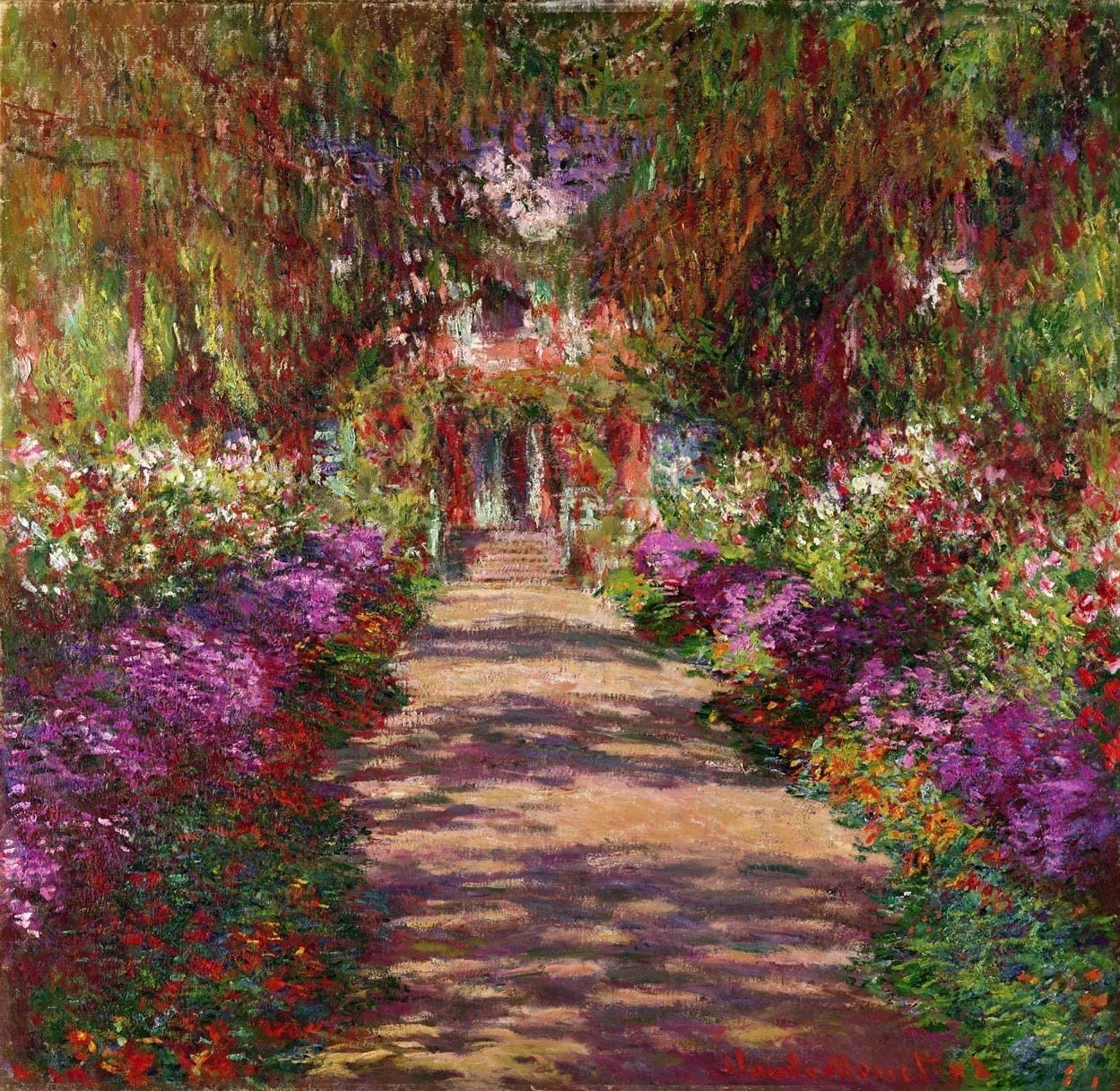 "Monet A Pathway in Monet's Garden (1902) Wall Decal 46.5""x48"""