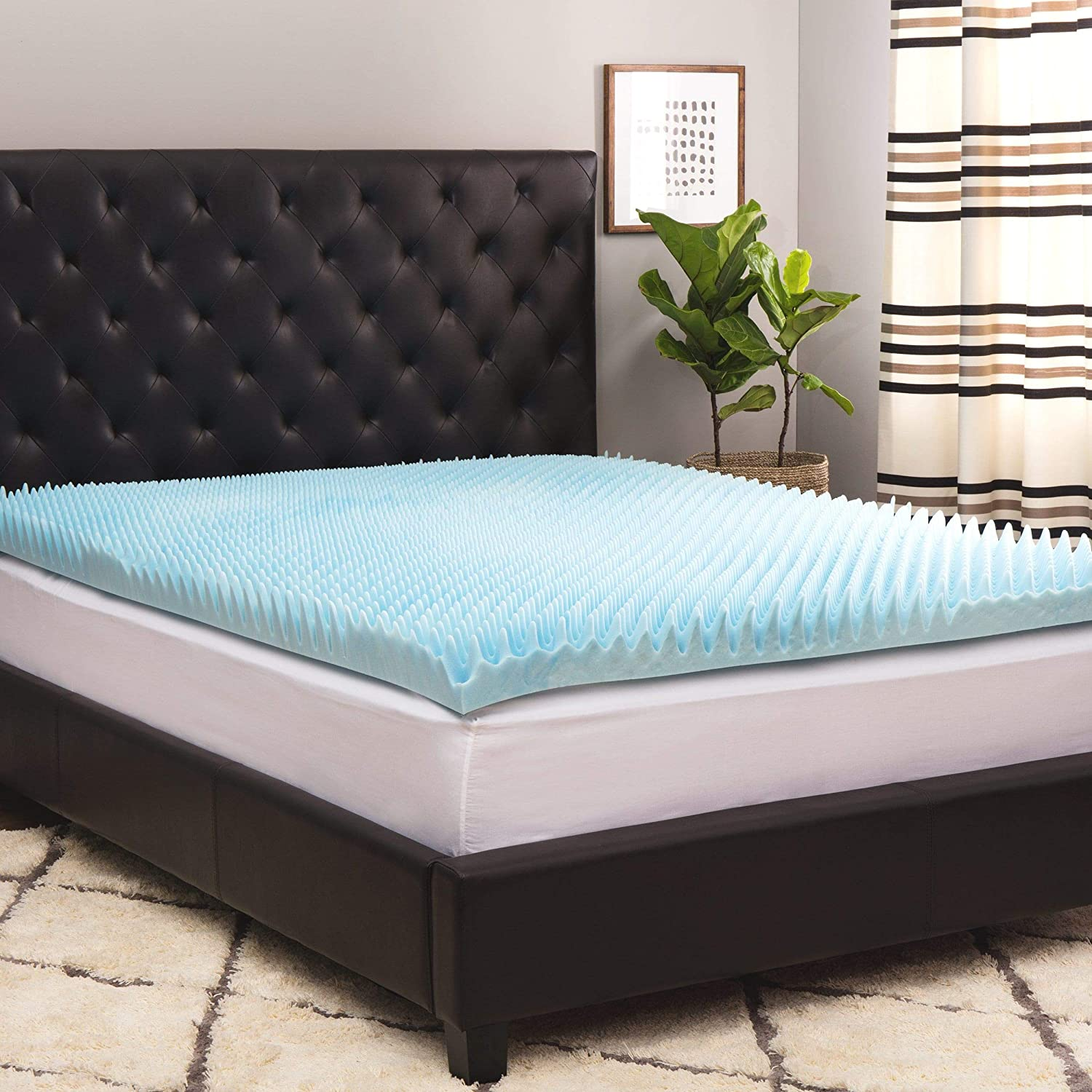 Simmons Curv 4-inch Sculpted Gel Memory Foam Mattress Topper with Polysilk Cover