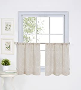 """Elrene Home Fashions Taylor Embroidered Rod Pocket Kitchen/Cafe Window Curtain Tiers, 30"""" x 24"""" Each (Set of 2, Linen"""