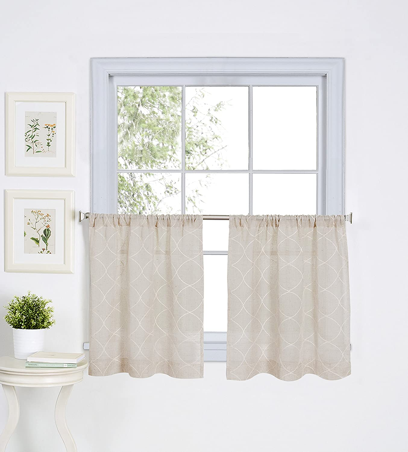 Elrene Home Fashions 026865775174 Embroidered Rod Pocket Kitchen/Cafe Tier Window Curtain, Set of 2, 30 x 24, Linen 30 x 24