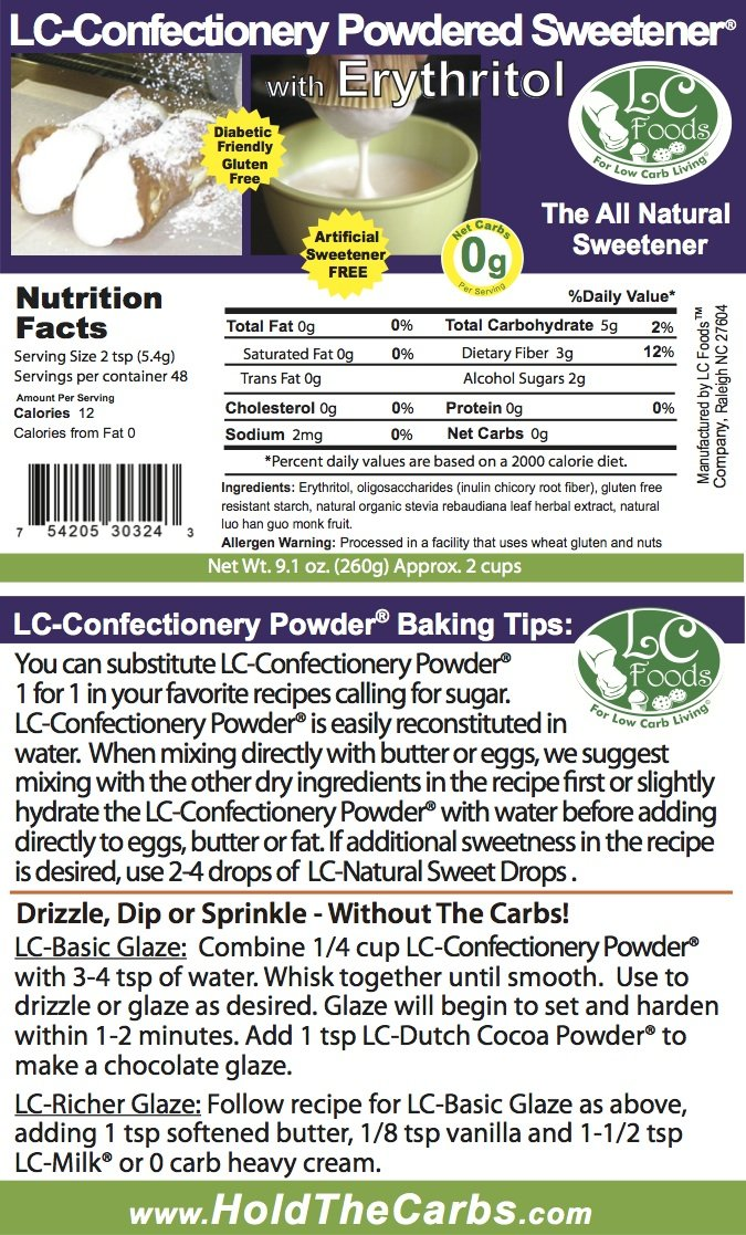 Low Carb Natural Sweetener - Powdered Erythritol (Confectionery) - LC Foods - Paleo - Gluten Free - Diabetic Friendly - Low Carb Sugar - 9.1 oz