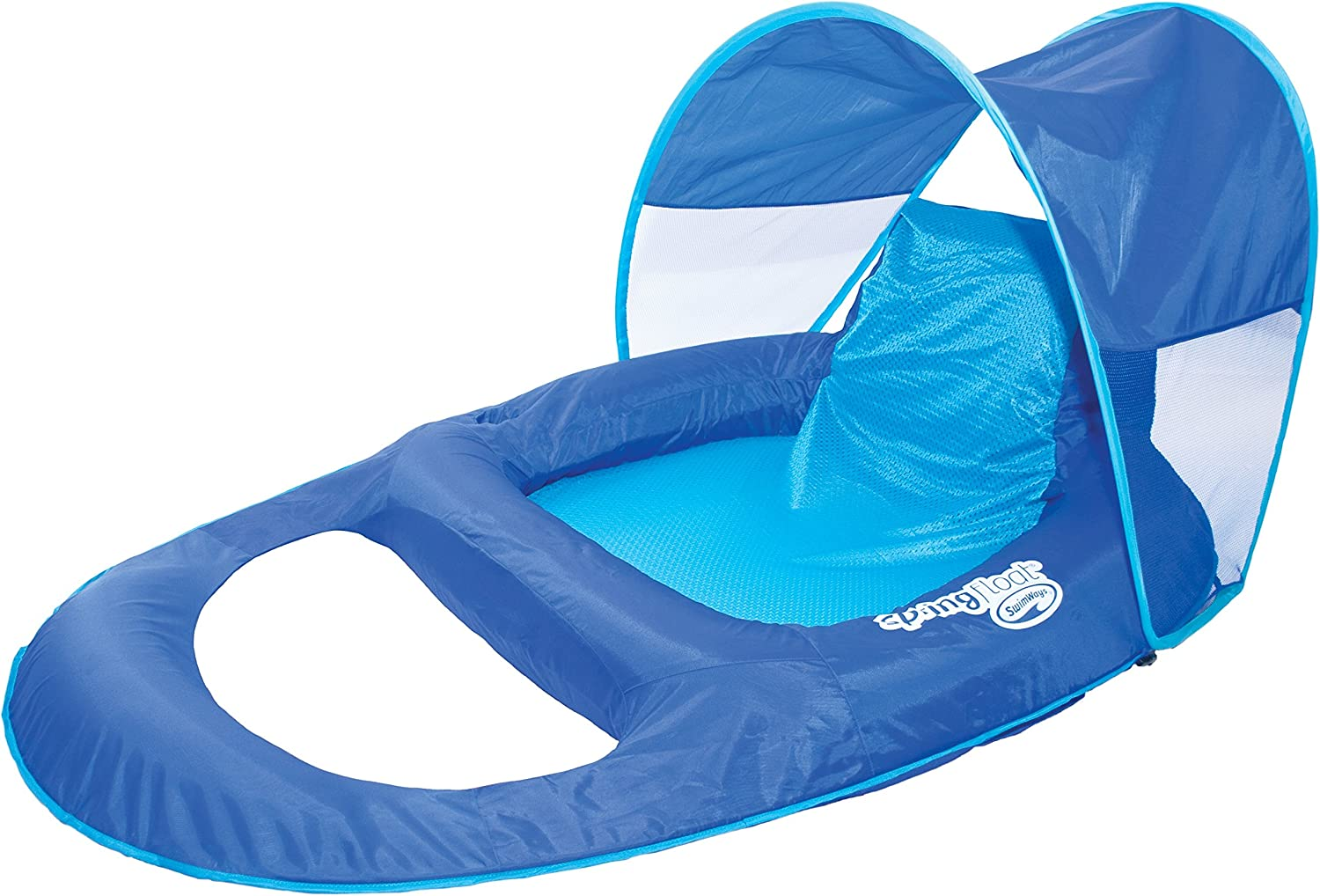 SwimWays Spring Float Recliner with Canopy - Swim Lounger for Pool or Lake