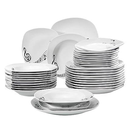 Amazon VEWEET 40Piece Porcelain Dinnerware Set Musical Note Extraordinary Patterned Dinnerware Sets