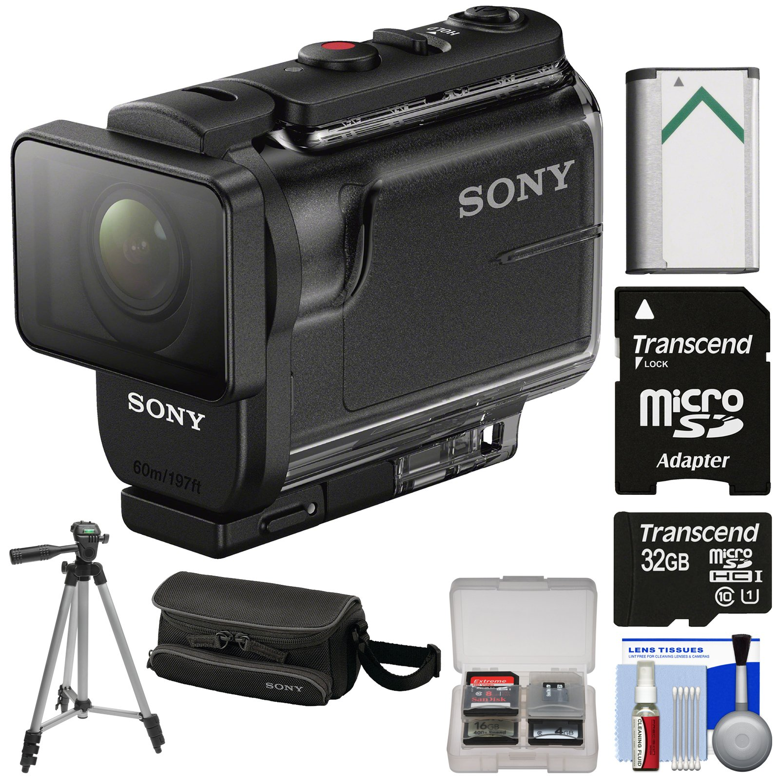Sony Action Cam HDR-AS50 Wi-Fi HD Video Camera Camcorder with 32GB Card + Battery + Case + Tripod + Kit by Sony