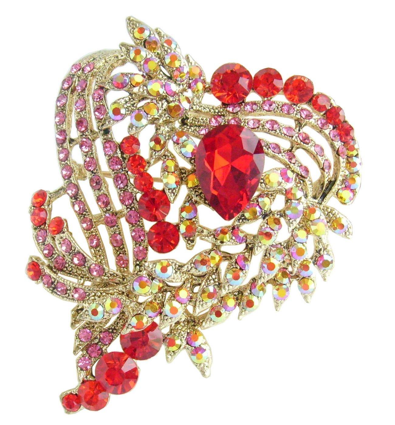 3.15'' Love Heart Brooch Pin Pendant Rhinestone Crystal BZ5652 (Gold-Tone Red)