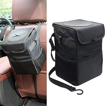 Waterproof Car Garbage Can Esky 100/% Leak-Proof Car Organizer Car Trash Can with Lid and Storage Pockets Multipurpose Trash Bin for Car