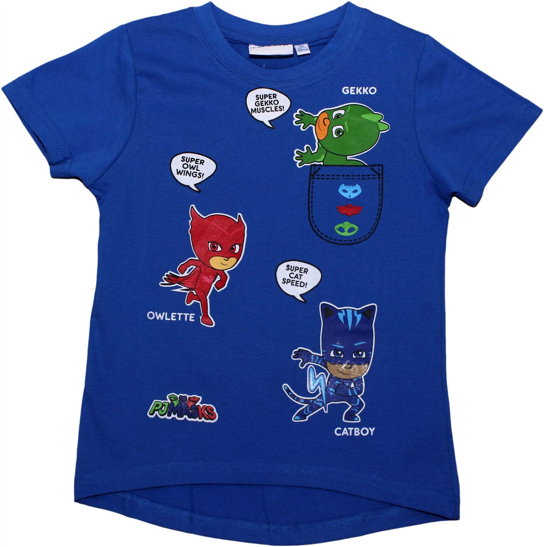 PJ Masks Boys Super Gekko Muscles Short Sleeve T Shirt Blue 3 Years - Spring Summer Collection