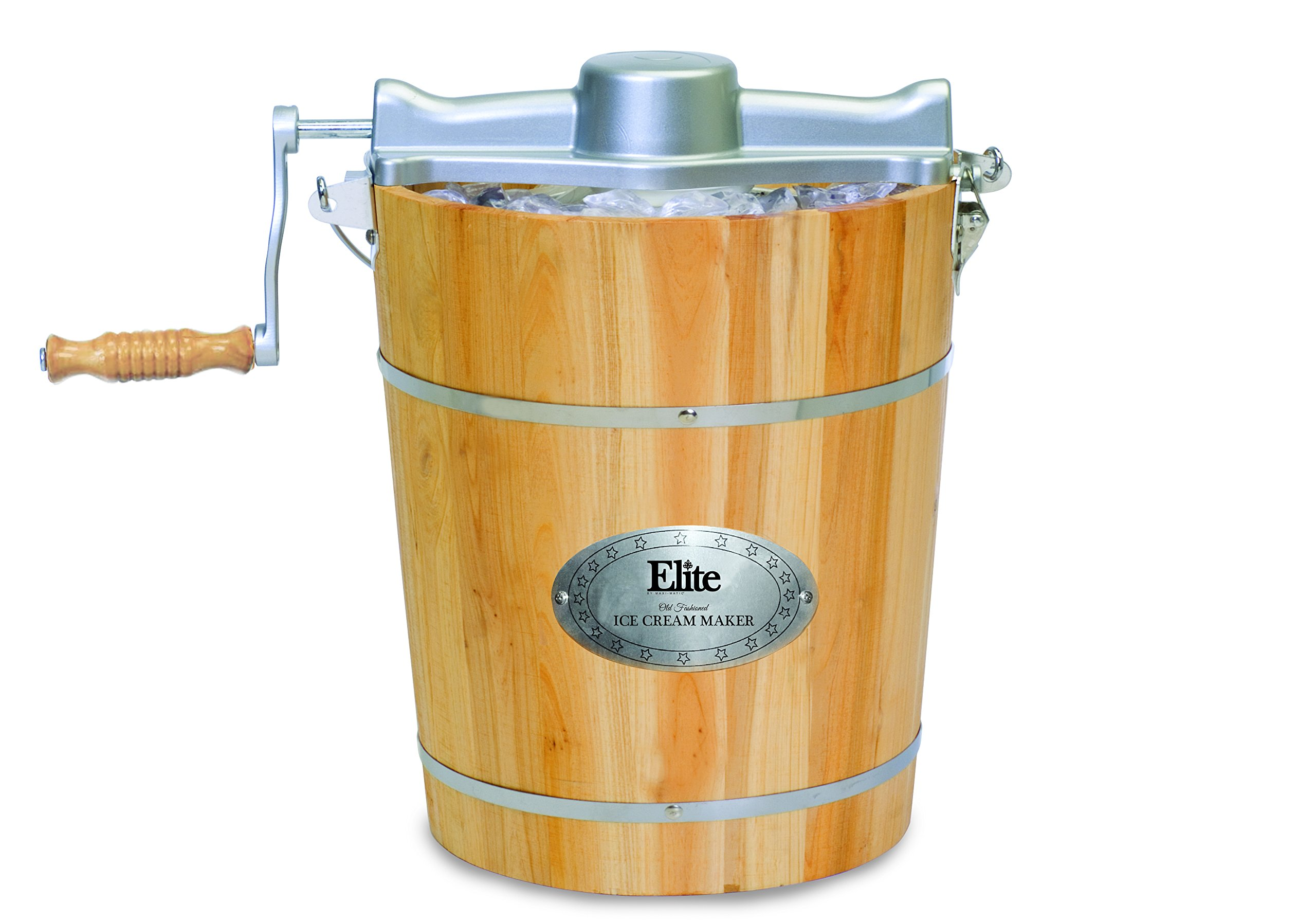 Elite Gourmet EIM-502 4 quart Old-Fashioned Ice Cream Maker with electric motor and hand crank, maple by Maxi-Matic (Image #2)