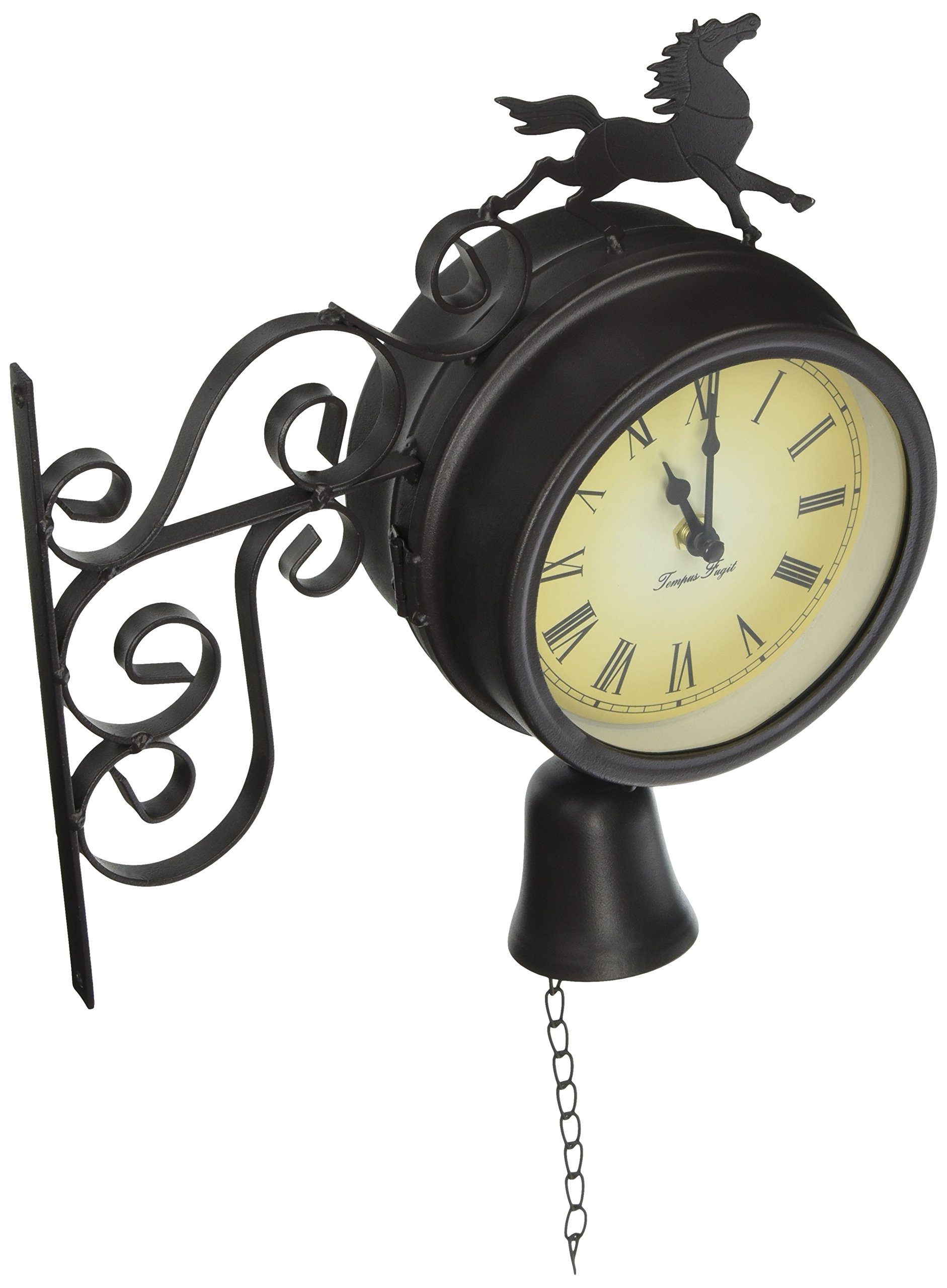 Horse and Bell Clock with Thermometer - 18.7in