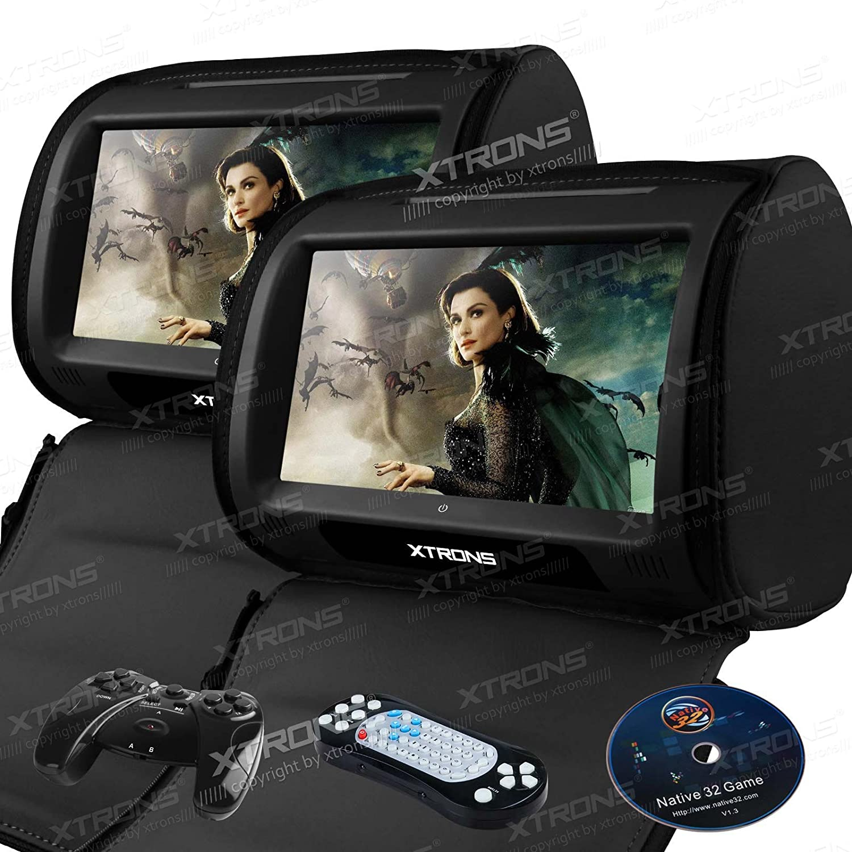 (HD0908T)XTRONS 9インチ ヘッドレスト モニター DVDプレーヤー 高画質 電圧保護 タッチパネル ダブルスピーカー搭載 USB SD ゲーム 2個1セット (ブラック) B076JBKMWB  ブラック