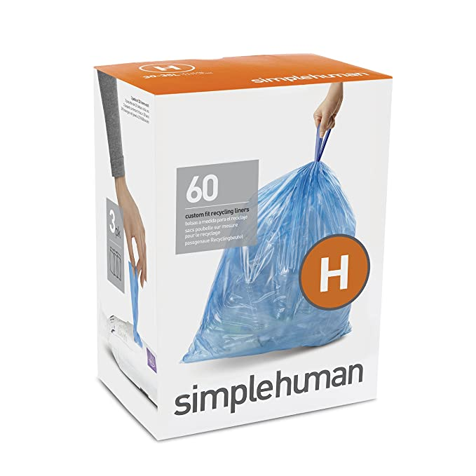 simplehuman Code H Custom Fit Recycling Drawstring Trash Bags, 30-35 Liter / 8-9 Gallon, 3 Refill Packs (60 Count) - Blue
