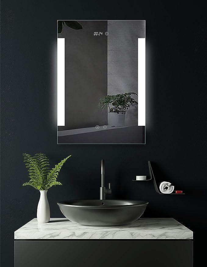 AUPERTO Miroir de salle de bain /à LED 50 x 70 cm avec interrupteur de capteur Blanc chaud//blanc chaud Lumi/ère verticale ou horizontale