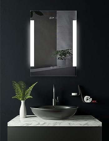 Specchio Con Led Incorporato.Specchio Da Bagno Illuminato Lateralmente A Led Con Orologio Digitale Integrato Augsburg 50 X 70 Cm Classe Di Efficienza Energetica A