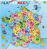 Vilac - 2582 - Jeux et Jouets en Bois - Carte de la France magnétique (95 pièces)