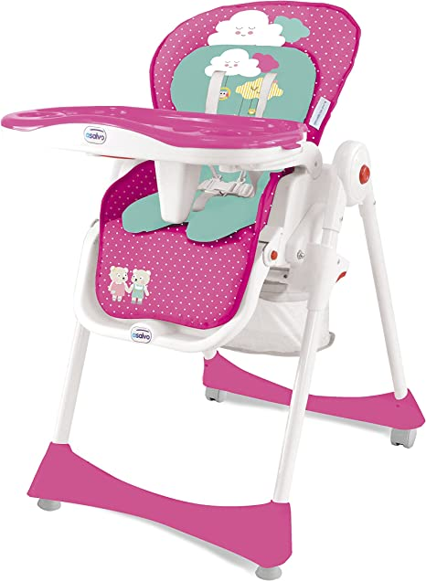 Asalvo Elegant - Trona 3 en 1 plegable, diseño ositos, color rosa ...
