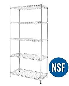 eeZe Rack ETI-003 HEAVY DUTY Steel Wire Shelving, Storage Rack, NSF CERTIFIED, 36x18x72-inches 5-Tier (Chrome) (NEW)