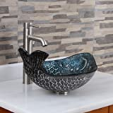 ELITE Pacific Whale Pattern Tempered Glass Bathroom Vessel Sink & Brushed Nickel Finish Faucet