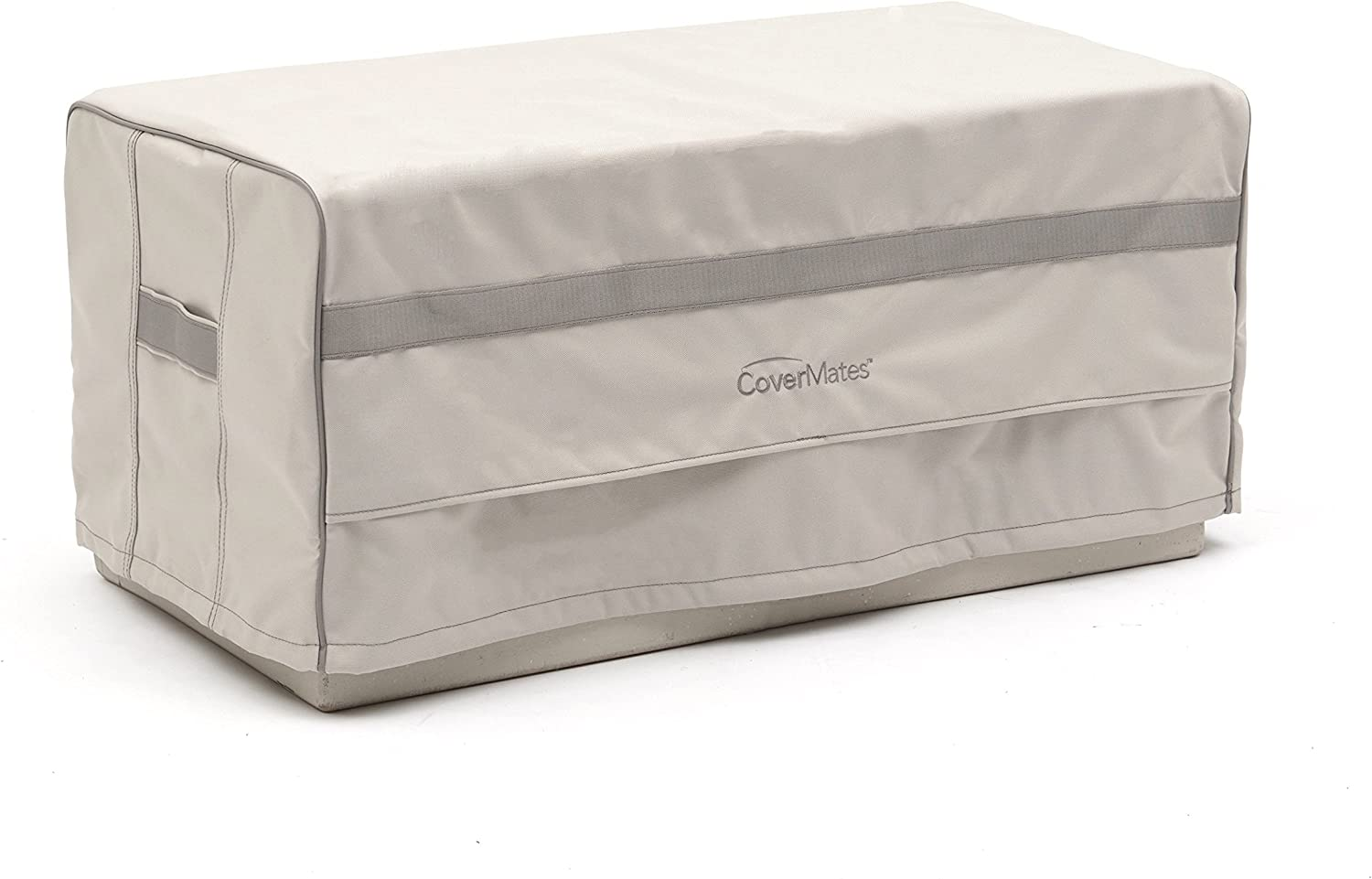 Covermates Rectangular Ottoman Cover 32W x 24D x 18H Prestige 900D Polyester PVC Free Backing Reinforced Handles 7 YR Warranty Weather Resistant – Stone