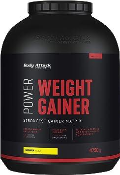 Body Attack Power Weight Gainer (aumento de peso), Plátano, 4,75 kg, 100% desarollo masa, carbohidrato- proteína en polvo para el aumento muscular con ...