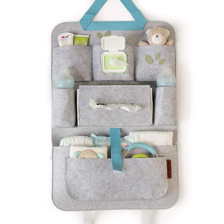 Luckysign Autorücksitzorganizer Für Kinder Und Baby Mit Mehreren Filztaschen 62 X 41 Cm Blau Baby