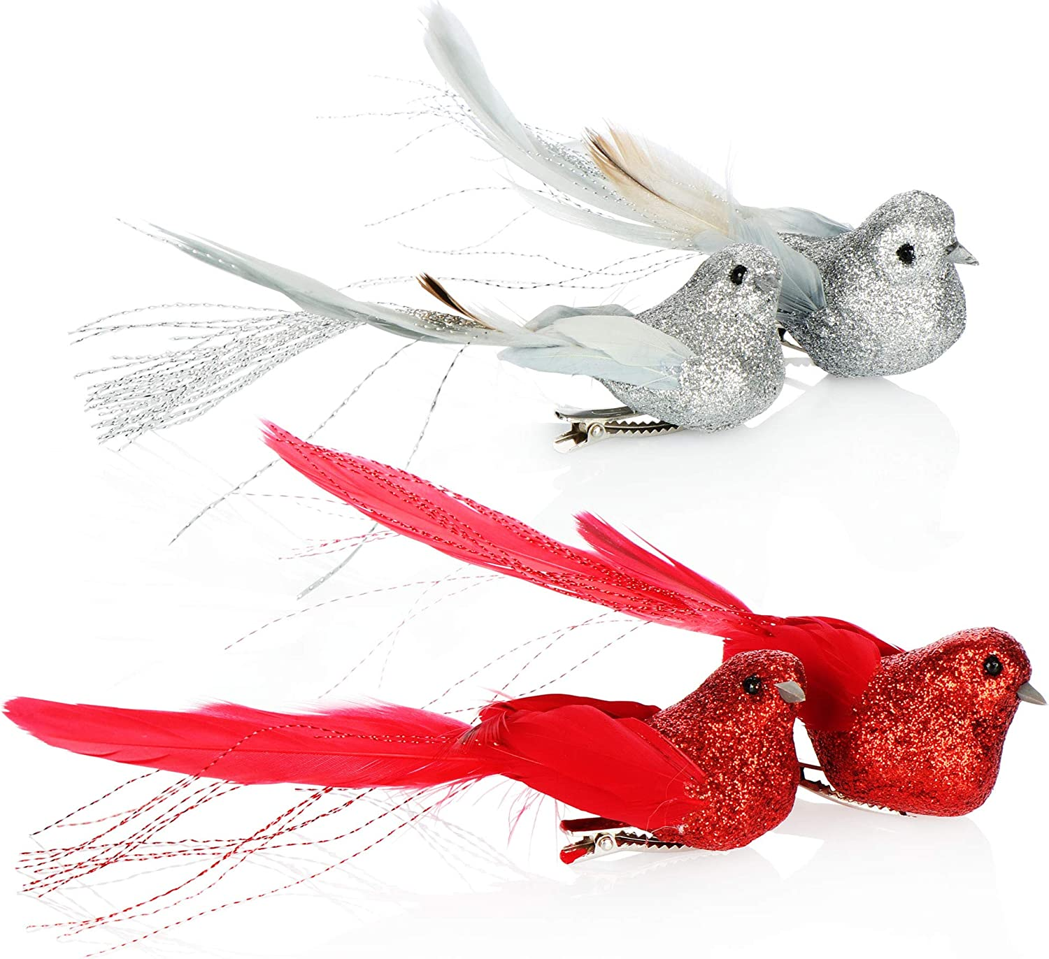 Birds with feather tail for Christmas tree decoration 14.5 cm com-four/® 4x Christmas tree decorations Decoration bird Plastic birds with clip for Christmas