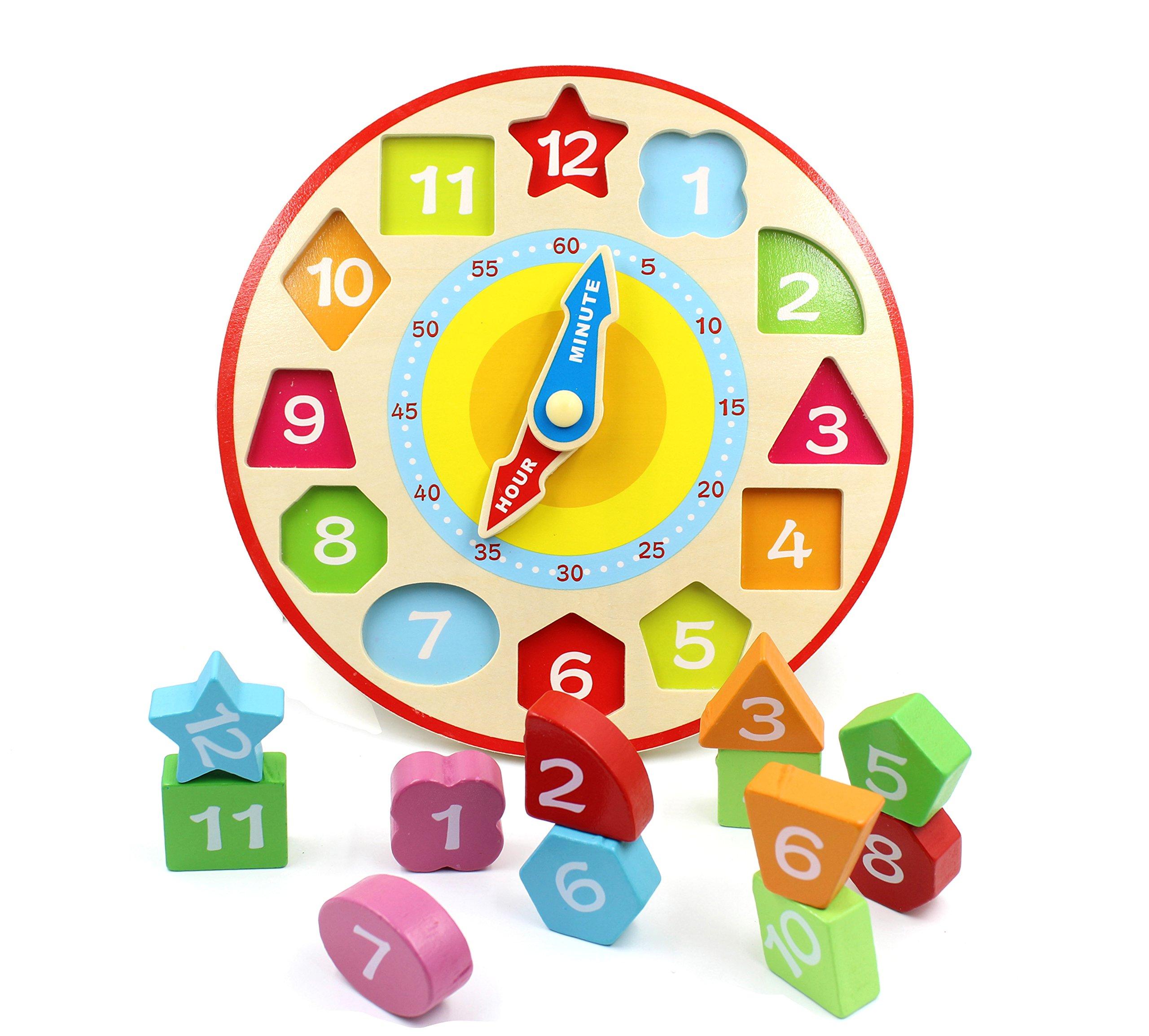 You Xi Wooden Shape Sorting Teaching Clock -Educational Toys
