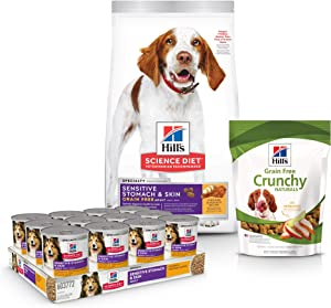Hill's Science Diet Grain Free Dog Treats, Chicken & Apples Dog Snacks & Dry Dog Food Diet Chicken & Potato Recipe with Diet Wet Dog Food Chicken & Vegetable Entrée