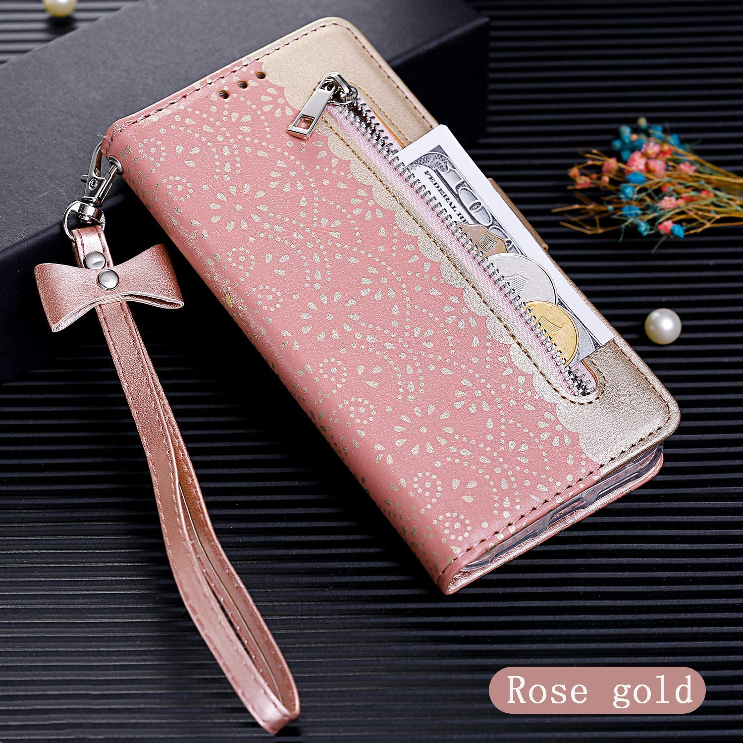 Stylish Flip Wallet Case for Samsung Galaxy A7 2018,Lace Pattern PU Leather Case for Samsung Galaxy A7 2018,Moiky Purple Lace Hollow Case with Wrist Strap Shockproof Magnetic Closure Protection