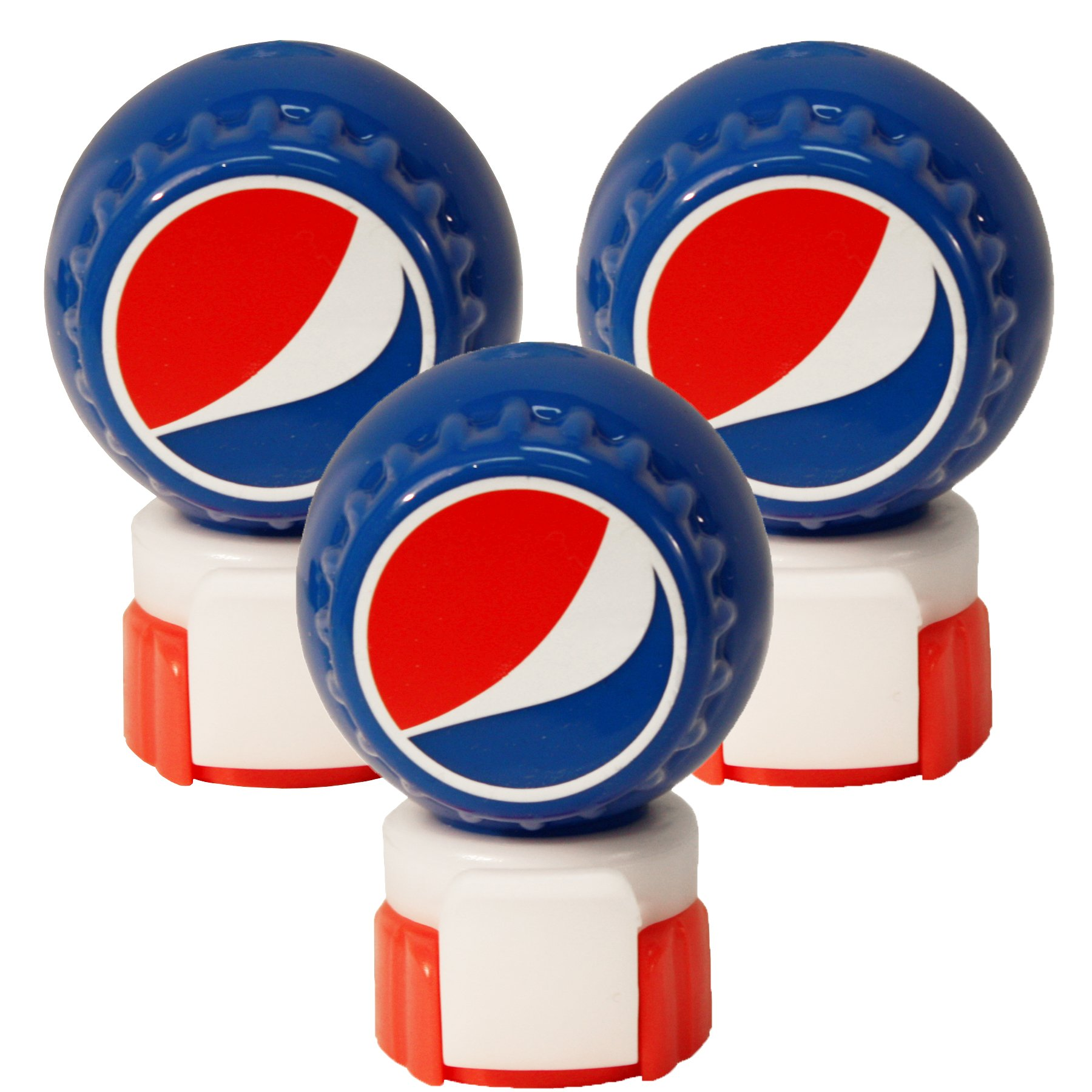 Jokari 3 Count Pepsi Modern Logo Fizz Keeper Soda Bottle Pump and Pour, Red/White/Blue