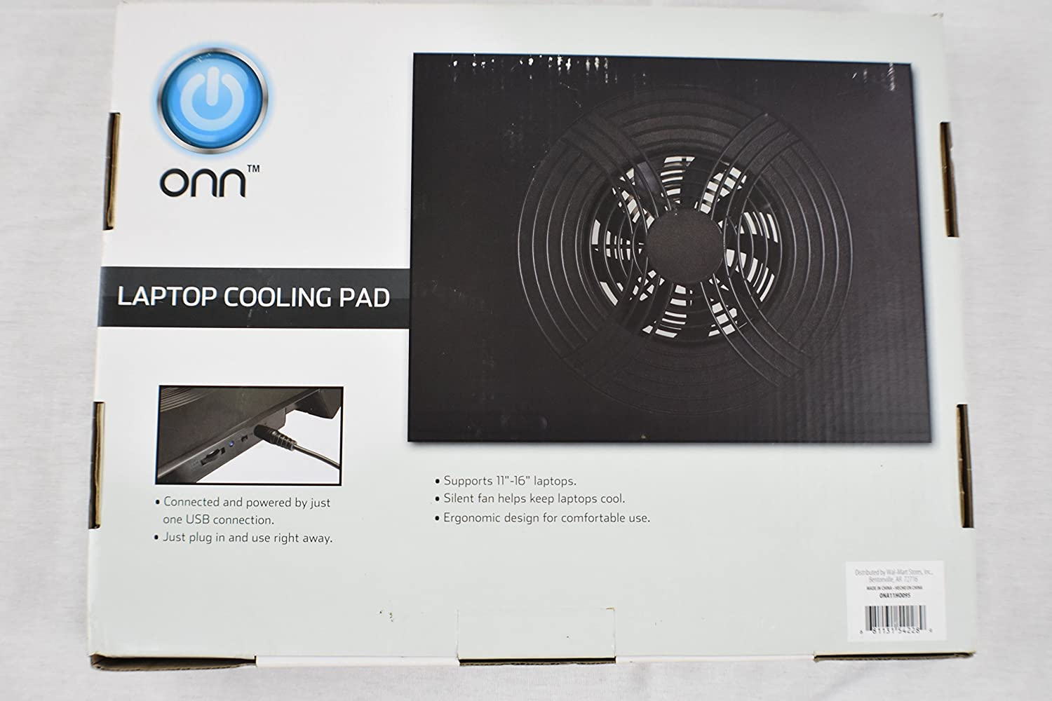 """Onn Laptop Computer Cooling Pad 17/"""" Ultra Slim with USB Cord 3-position Stand"""