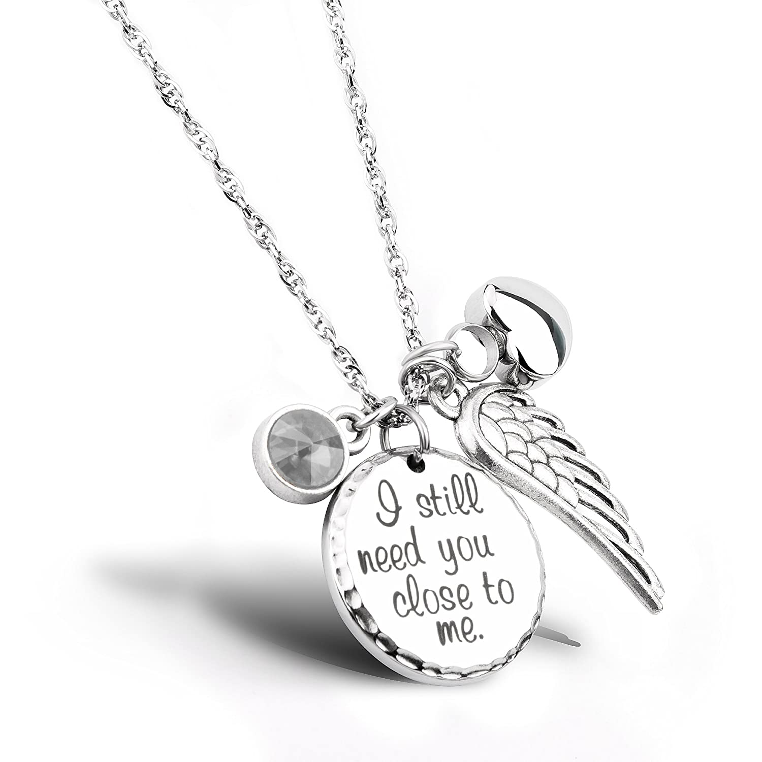 I Still Need You Close to Me Cremation Jewelry Urn Necklace Pet Memorial  Ash Holder Necklace with Birthstone Crystal and Angel Wing Charm Sympathy  Gift ... 69b7c8b0f20e