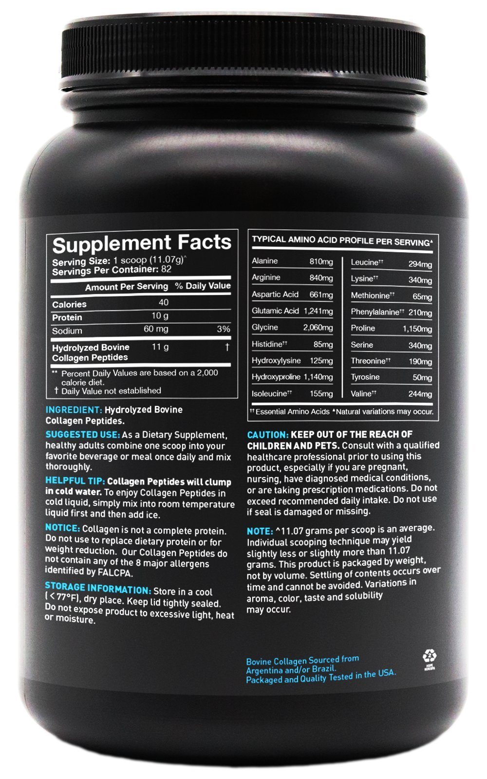 Collagen Peptides Powder 'XL' Jar 32oz | Grass-Fed, Certified Paleo Friendly, Non-GMO and Gluten Free - Unflavored by Sports Research (Image #3)