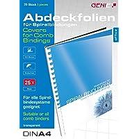 Genie 12385 Deckblätter (DIN A4, glasklar, 150 Micron, geeignet für alle Bindegeräte) 25 Stück transparent